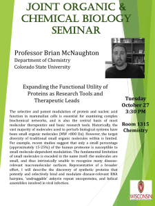 JOINT OrgaNIc & chemIcal bIOlOgY semINar Professor Brian McNaughton