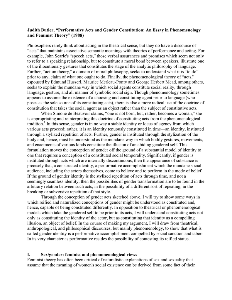 Essay On Paper Judith Butler Performative Acts And Gender Constitution An Essay In  And Feminist Theory  General English Essays also First Day Of High School Essay Judith Butler Performative Acts And Gender Constitution An Essay  English Essay Writer