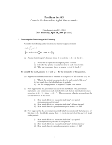 Problem Set #5 Course 14.06 – Intermediate Applied Macroeconomics