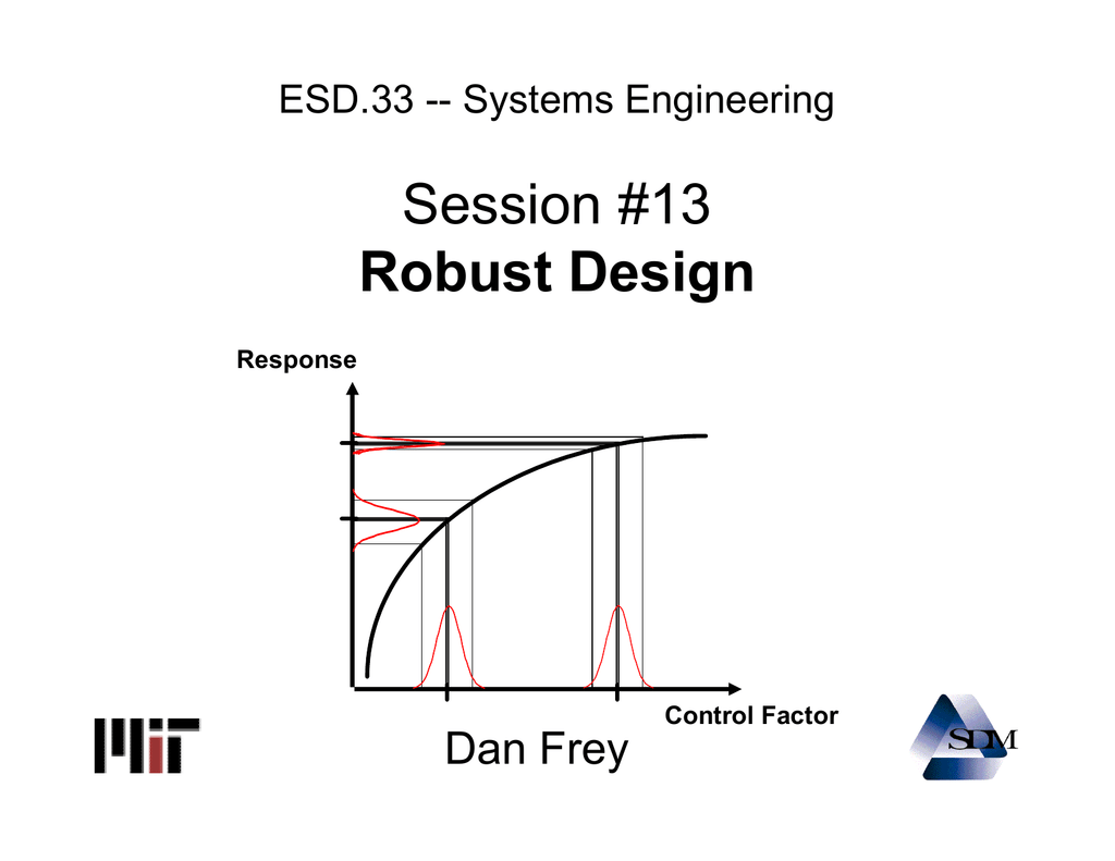 Session 13 Robust Design Dan Frey Esd 33 Systems Engineering