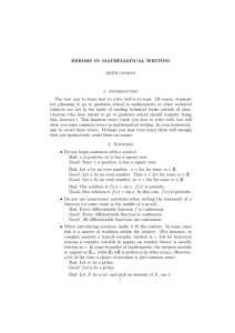 ERRORS IN MATHEMATICAL WRITING 1. Introduction