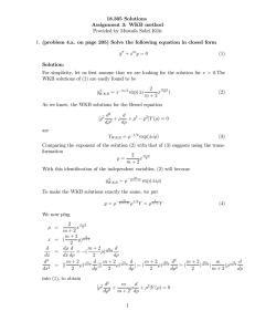 18.305 Solutions Assignment 3: WKB method Provided by Mustafa Sabri Kilic