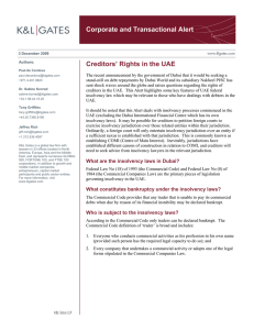 Corporate and Transactional Alert Creditors' Rights in the UAE