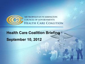Health Care Coalition Briefing September 10, 2012