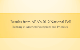 Planning in America: Perceptions and Priorities