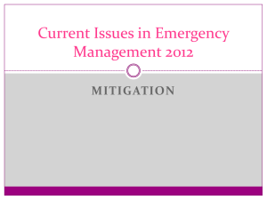 Current Issues in Emergency Management 2012 MITIGATION