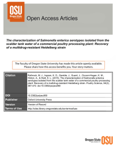 The characterization of Salmonella enterica serotypes isolated from the