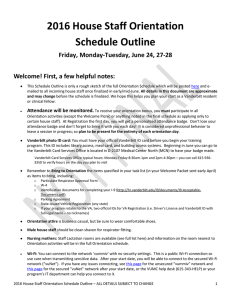 2016 House Staff Orientation Schedule Outline Friday, Monday-Tuesday, June 24, 27-28