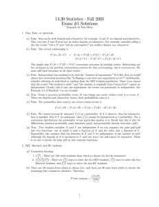 14.30 Statistics - Fall 2003 Exam #1 Solutions
