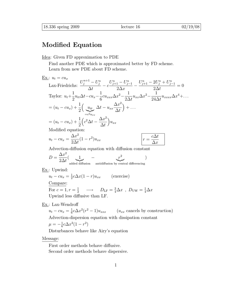 Modified Equation