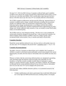 HHS Advisory Committee on Blood Safety and Availability