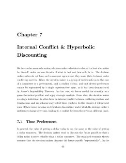 Chapter  7 Internal  Conflict  &  Hyperbolic Discounting