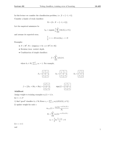 Lecture  02 Voting classifiers, training error of boosting. 18.465