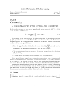 Convexity 18.657: Mathematics of Machine Learning Part II