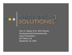 Amir A. Hasson & Dr. Rich Fletcher Developmental Entrepreneurship Class Presentation
