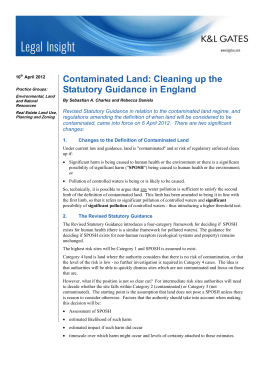 Contaminated Land: Cleaning up the Statutory Guidance in England