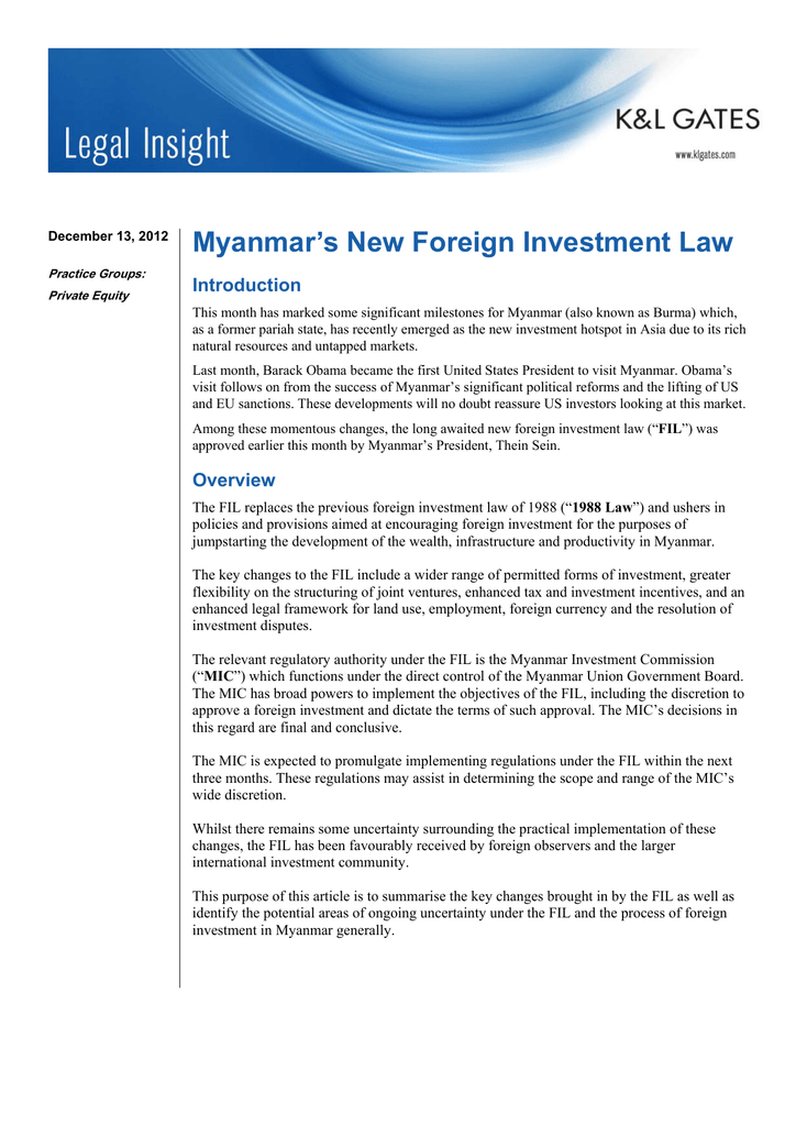 Myanmar foreign investment law full text udarjalka bas bobenal investments