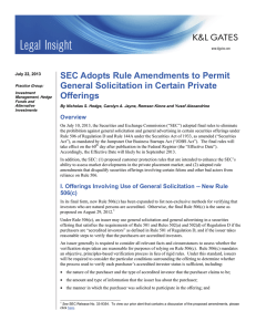 SEC Adopts Rule Amendments to Permit General Solicitation in Certain Private Offerings