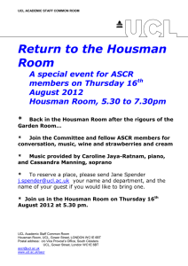 Return to the Housman Room A special event for ASCR