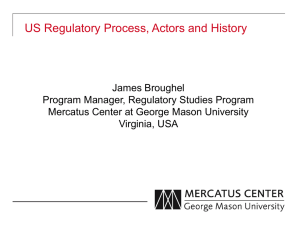 US Regulatory Process, Actors and History