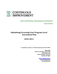 Submitting/Accessing Your Program-Level Assessment Plan  2010-2011