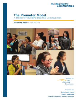 The Promotor Model A Model for Building Healthy Communities  A Framing Paper