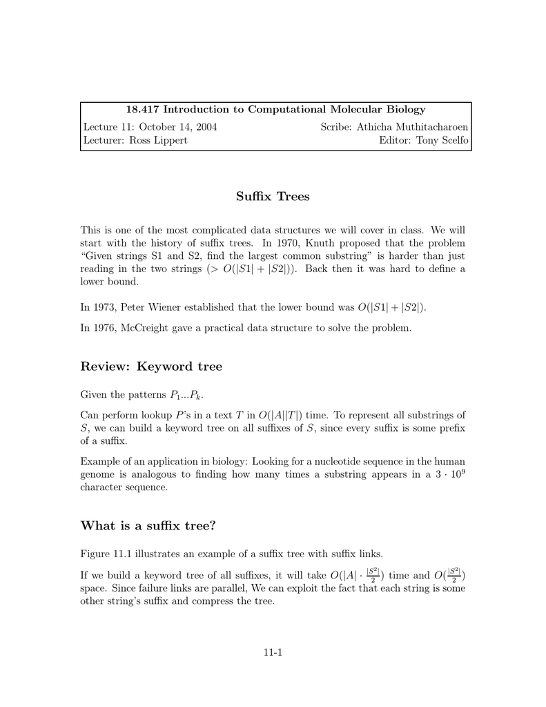 18 417 Introduction to Computational Molecular     Lecture 11