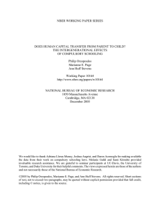 NBER WORKING PAPER SERIES THE INTERGENERATIONAL EFFECTS