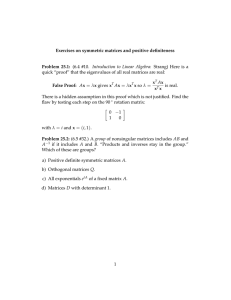 "(6.4  #10.  Introduction  to  Linear ... quick ""proof"" that the eigenvalues of all real matrices are... Exercises on symmetric matrices and positive definiteness Problem  25.1:"
