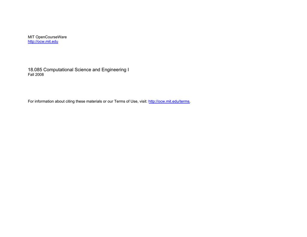 18 085 Computational Science and Engineering I MIT