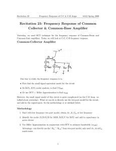 Recitation 23: Frequency Response of Common Collector & Common-Base Amplifier