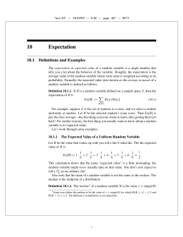 18 Expectation 18.1 Definitions and Examples