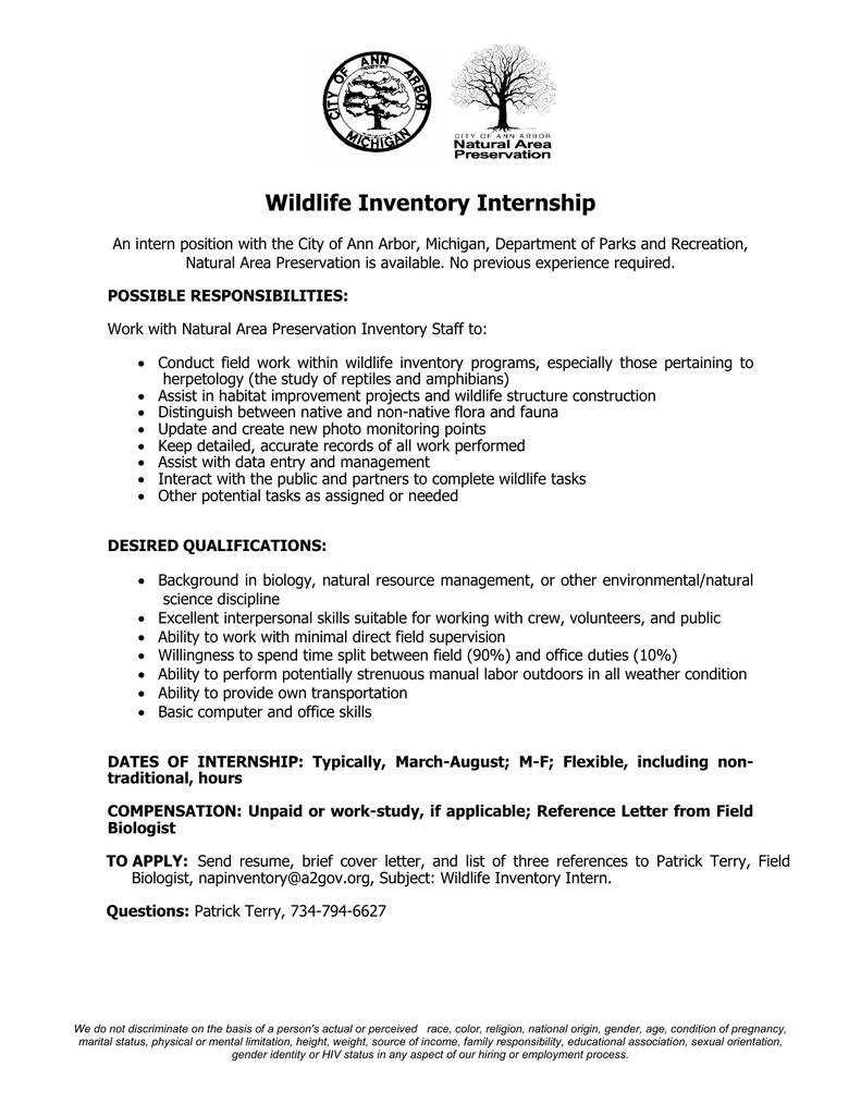 wildlife inventory internship
