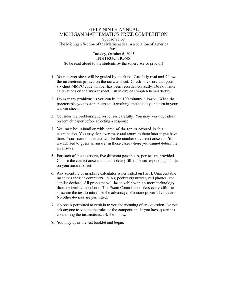 FIFTY-NINTH ANNUAL MICHIGAN MATHEMATICS PRIZE COMPETITION