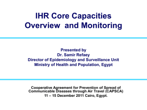 IHR Core Capacities Overview  and Monitoring