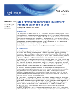 "EB-5 ""Immigration through Investment"" Program Extended to 2015 I. Introduction"