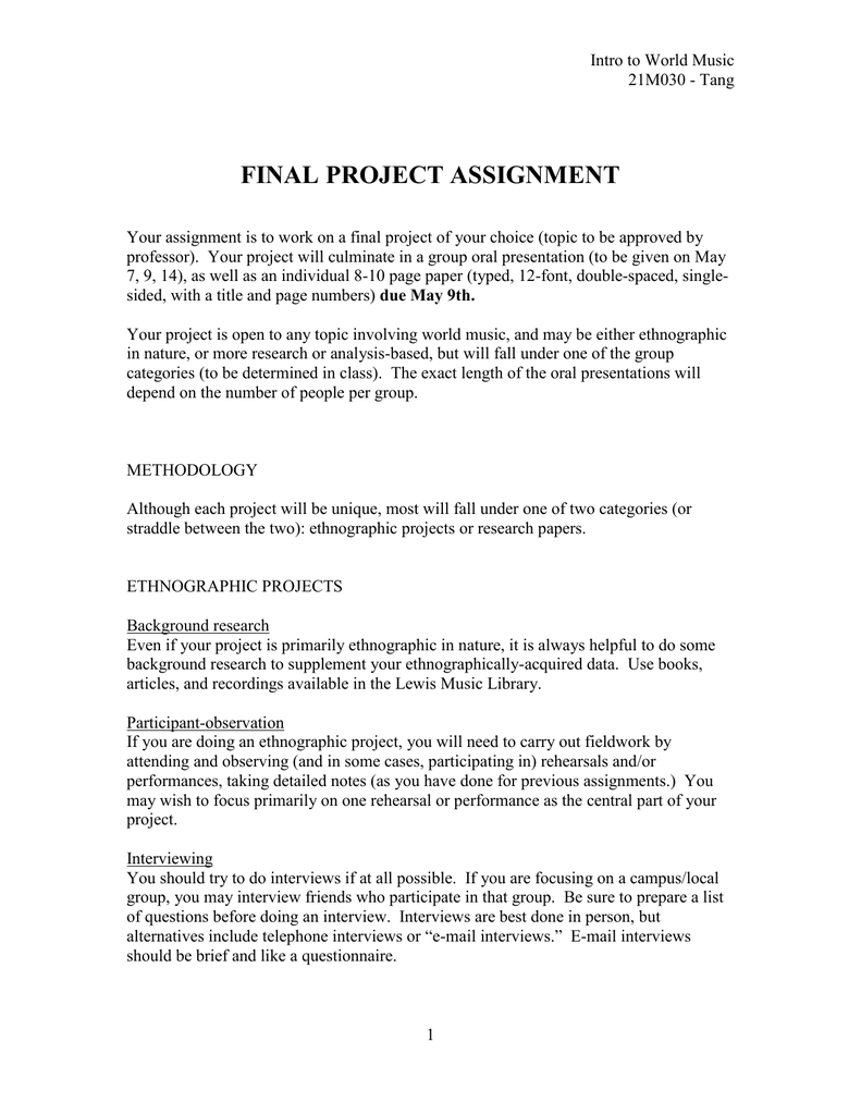 project assignments