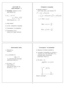LECTURE 19 Chebyshev's inequality Limit theorems – I µ