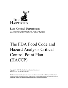 The FDA Food Code and Hazard Analysis Critical Control Point Plan (HACCP)