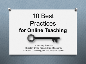 Best Practices for Online Teaching Presentation (PDF)