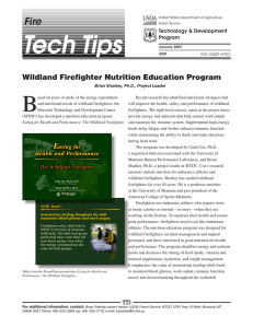 B Fire Wildland Firefighter Nutrition Education Program