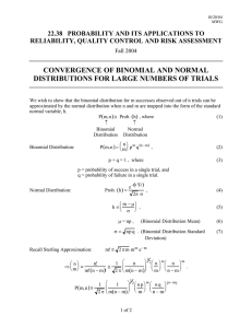 CONVERGENCE OF BINOMIAL AND NORMAL DISTRIBUTIONS FOR LARGE NUMBERS OF TRIALS