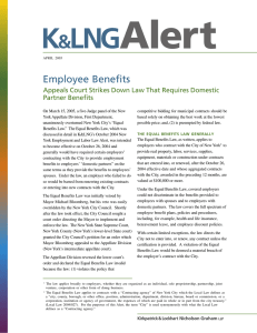 Employee Benefits Appeals Court Strikes Down Law That Requires Domestic Partner Benefits
