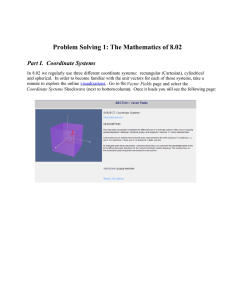 Problem Solving 1: The Mathematics of 8.02