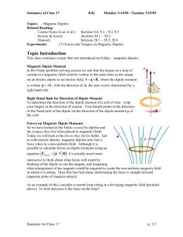 Summary of Class 17 8.02 Monday 3/14/05 / Tuesday 3/15/05 Topics