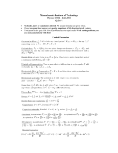Massachusetts Institute of Technology Useful Formulae Physics 8.022 – Fall 2004 Quiz #1