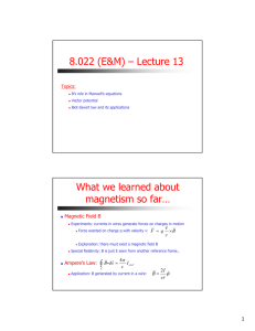 8.022 (E&M) – Lecture 13 What we learned about magnetism so far…