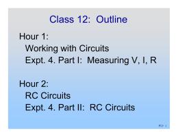 Class 12:  Outline