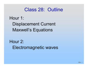 Class 28:  Outline Hour 1: Displacement Current Maxwell's Equations