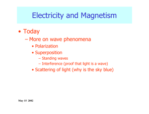 Electricity and Magnetism • Today – More on wave phenomena • Polarization
